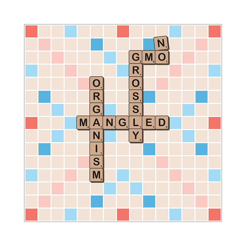GMO-NO: Grossly Modified Organism (SCRABBLE Board) [Gardening T-Shirt Design]