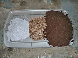 Perlite, vermiculite & peat moss at ratio of 1:1:3
