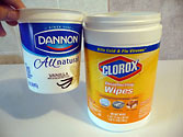 32oz Dannon Yogurt vs 105cnt Clorox Wipes Containers